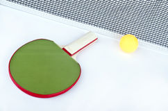 Don,t shot to the net!. Ping pong objects on white Stock Photography