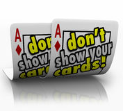 Don't Show Your Cards Strategy Negotiation Cunning Shrewd Secret vector illustration