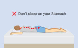 Don`t sleep on your stomach. Illustration about wrong sleeping position make chronic back pain Royalty Free Stock Image
