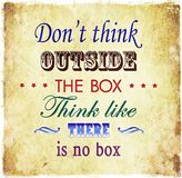 Don't think outside the box quote Grunge quote background Stock Image