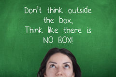 Don't Think Outside The Box, Think Like There is No Box, Motivating Business Phrase. Inspirational motivational business phrase on chalkboard Stock Photo