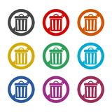Don`t throw trash, Recycle bin sign icon, color icons set. Simple vector icon Royalty Free Stock Photos