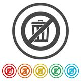 Don`t throw trash, Recycle bin sign icon, 6 Colors Included. Simple vector icons set Stock Images