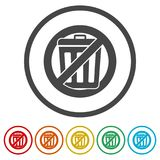 Don`t throw trash, Recycle bin sign icon, 6 Colors Included. Simple vector icons set Royalty Free Stock Photos