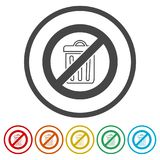 Don`t throw trash, Recycle bin sign icon, 6 Colors Included. Simple vector icons set Stock Photos