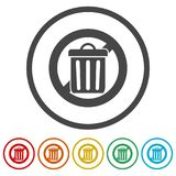 Don`t throw trash, Recycle bin sign icon, 6 Colors Included. Simple vector icons set Royalty Free Stock Photography