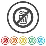 Don`t throw trash, Recycle bin sign icon, 6 Colors Included. Simple  icons set Stock Images