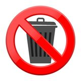 Don`t throw trash, Recycle bin sign icon. Simple sign Royalty Free Stock Photos