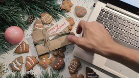 Don`t touch! Presents on Christmas holidays stock footage