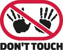 Don`t touch sigh with hand prints. Vector Stock Photos