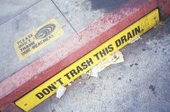 Don,t trash this drain sign royalty free stock image
