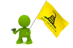Don't Tread On Me. Illustration of a person holding a gun and the Gadsen Don't Tread On Me flag.  Part of my cute green man series Stock Images