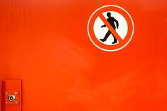 Don`t walk here. In a tunnel there are red doors with prohibitory to get there Royalty Free Stock Images