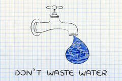 Don't waste water: the world in a droplet from the tap (with wat. Planet earth in a droplet from the tap (with ocean fill), illustration about avoiding water Stock Photo