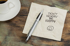 Don't worry be happy. A cocktail napkin doodle with cup of coffee Stock Photo