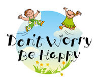 Don't worry be happy hand drawn lettering motivation quote Stock Images