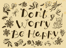Don't worry be happy hand drawn lettering motivation quote  Royalty Free Stock Photos