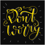 Don`t worry be happy - hand lettering quote. Stock Photos