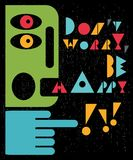 Don`t worry, be happy man. Vector vintage illustration Royalty Free Stock Images