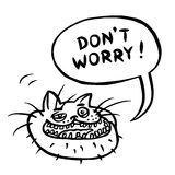 Don`t Worry! Cartoon Cat Head. Vector Illustration. Stock Photography