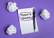 Don't worry word. On notepad Royalty Free Stock Images