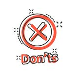 Don`ts sign icon in comic style. Unlike vector cartoon illustration. No business concept splash effect.  royalty free illustration