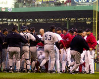 Don Zimmer Charges in Pedro Martinez Royalty-vrije Stock Foto