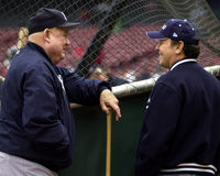 Don Zimmer e Billy Crystal Immagine Stock