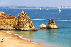 Dona Ana beach in Lagos, Portugal Stock Photo