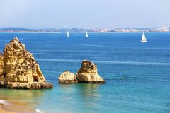 Dona Ana beach in Lagos, Portugal Royalty Free Stock Images