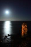 Dona Ana beach by night. F Dona Ana beach in Lagos full moon night Stock Photos
