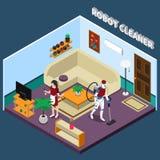 Dona de casa And Cleaner Professions do robô ilustração stock
