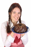 Dona de casa com bolo do bundt Fotos de Stock Royalty Free