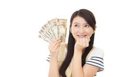Dona de casa com dinheiro fotos de stock royalty free