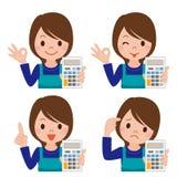 Dona de casa com uma calculadora ilustração royalty free