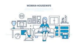 A dona de casa da mulher, no ambiente quieto, faz malha no sofá ilustração do vetor