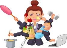 Dona de casa da multitarefa dos desenhos animados Fotos de Stock Royalty Free