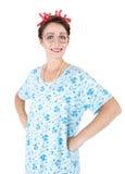 Dona de casa de sorriso louca feliz isolada Fotografia de Stock