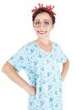 Dona de casa de sorriso louca feliz isolada Imagens de Stock
