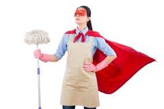 Dona de casa do super-herói da limpeza da primavera Fotografia de Stock