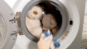 A dona de casa enche a máquina de lavar dos brinquedos macios da cesta de lavanderia e os fechamentos fazem à máquina a porta vídeos de arquivo