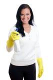 Dona de casa feliz com líquido de limpeza de indicador. Foto de Stock Royalty Free