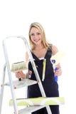 Dona de casa feliz que faz DIY Fotografia de Stock