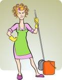 Dona de casa irritada dos desenhos animados Foto de Stock Royalty Free