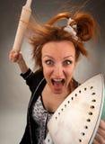 Dona de casa louca Imagens de Stock