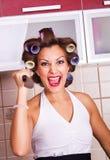 Dona de casa louca foto de stock