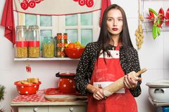 Dona de casa na cozinha Foto de Stock