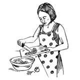 A dona de casa nova vestiu-se em vegetais dos cortes de um avental do às bolinhas para a salada ilustração stock