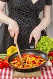 Dona de casa que cozinha o prato mexicano do estilo imagem de stock royalty free