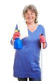 Dona de casa que faz a limpeza da primavera Fotografia de Stock Royalty Free